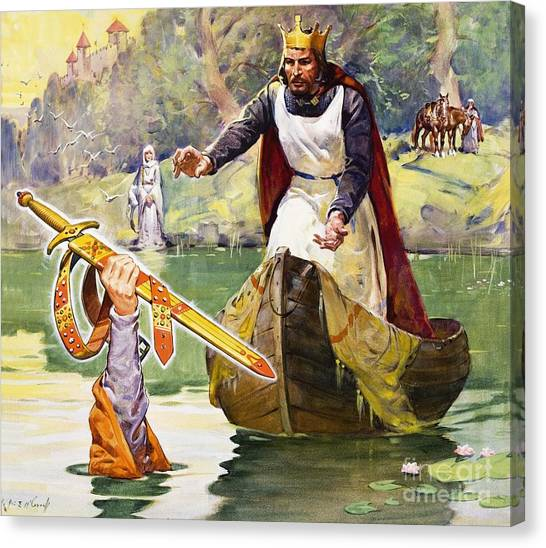 King Arthur Canvas Print -  Arthur And Excalibur by James Edwin McConnell
