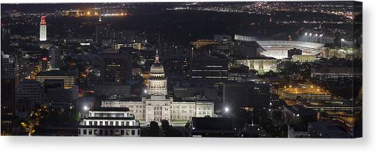 Austin Skyline Canvas Print - Panorama Of The State Capitol From The Austin Skyline by Rob Greebon