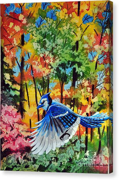 Autumn Blue Jay Canvas Print