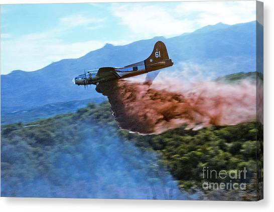 B-17 Air Tanker Dropping Fire Retardant Canvas Print