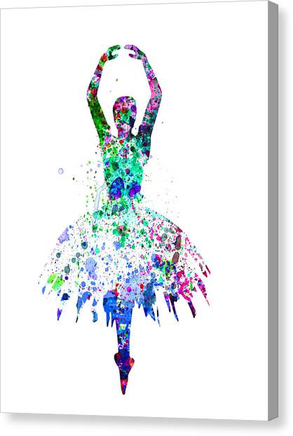 Vogue Canvas Print -  Ballerina Dancing Watercolor 4 by Naxart Studio