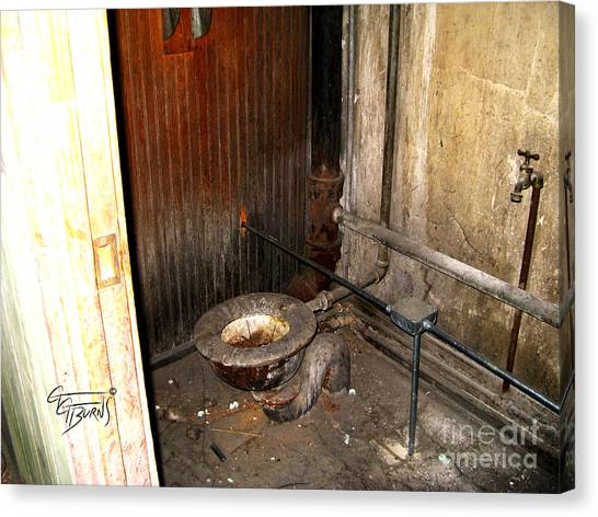 Eastern Kentucky University Canvas Print -  Ballroom Toilet At Esh by GG Burns