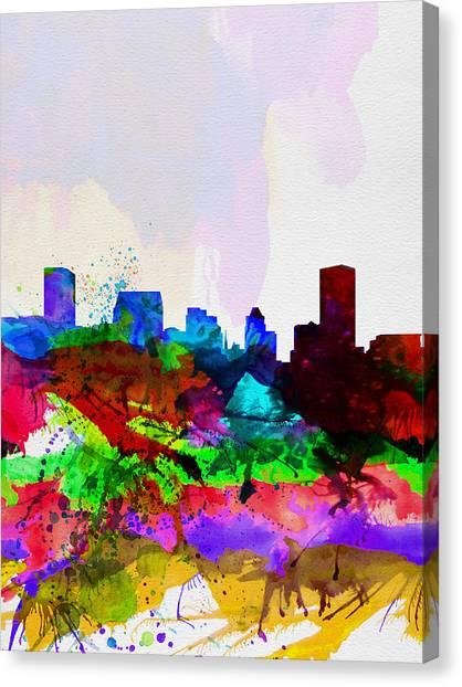 Maryland Canvas Print -  Baltimore Watercolor Skyline by Naxart Studio