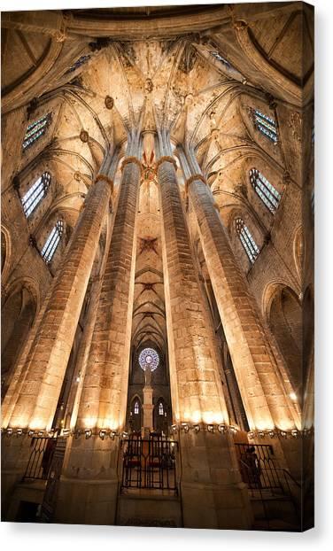 Basilica Of Santa Maria Del Mar In Barcelona Canvas Print