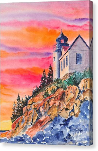 Bass Harbor Light Sunset Canvas Print