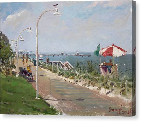 Beach Umbrellas Canvas Print -  Beach Border Walk In Norfolk Va by Ylli Haruni