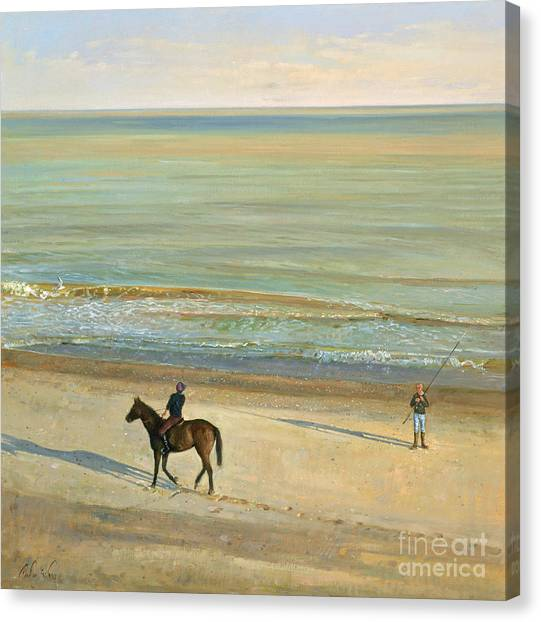 Calm Canvas Print -  Beach Dialogue Dunwich by Timothy  Easton