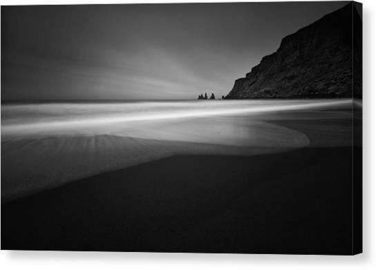 Black Sand Canvas Print - ... Black Beach by Raymond Hoffmann