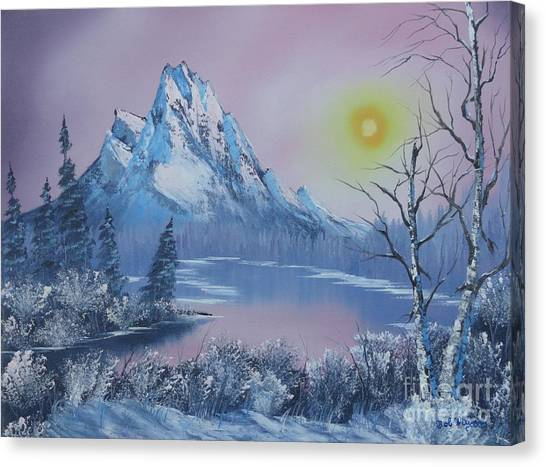 Blue Winter's Sunglow  Canvas Print