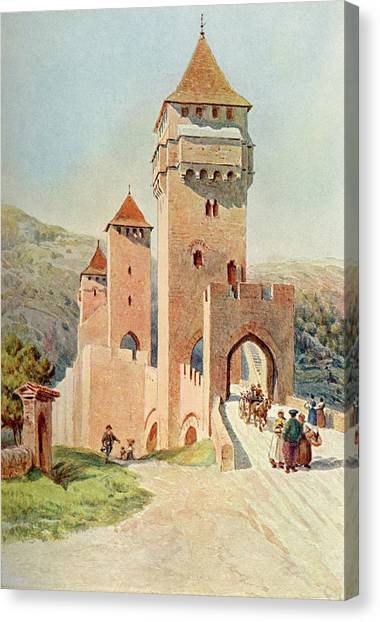Cahors  Pont Valentre        Date 1904 Canvas Print by Mary Evans Picture Library