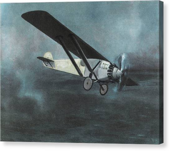 Charles Lindbergh Is The First  To Fly Canvas Print by Mary Evans Picture Library