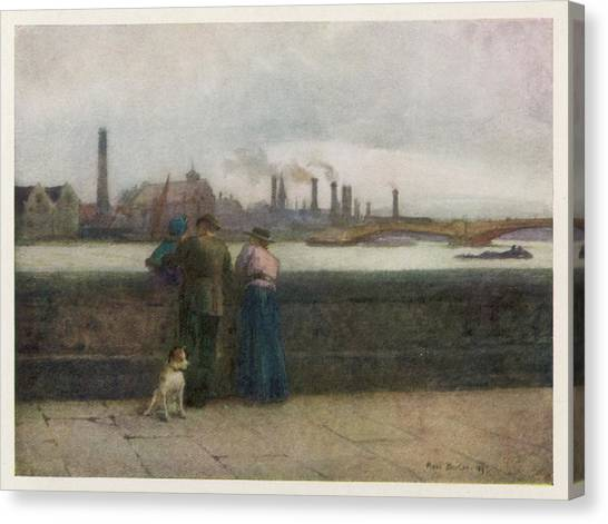 Chelsea Embankment On A Grey Day Canvas Print by Mary Evans Picture Library