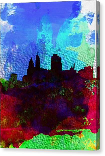 Places Canvas Print -  Cincinnati Watercolor Skyline by Naxart Studio