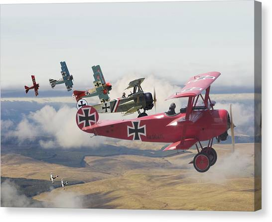 Biplane Canvas Print -  Circus Comes To Town by Pat Speirs