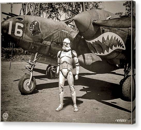 Star Wars Canvas Print -  Clone Trooper With P-38 Lightning by Tony Leone
