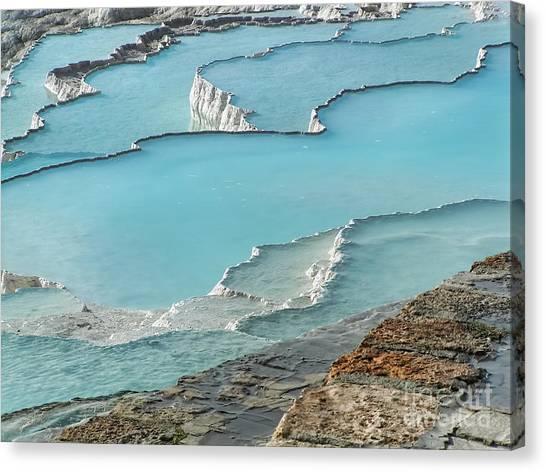 Cotton Castle Surrounded By Azure Pools Canvas Print