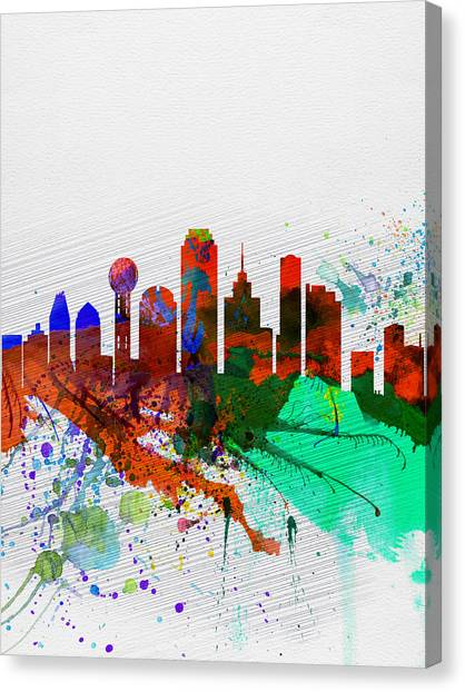Dallas Canvas Print -  Dallas Watercolor Skyline by Naxart Studio