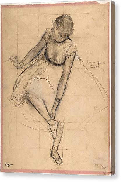 Canvas Print featuring the drawing  Dancer Adjusting Her Slipper by Edgar Degas