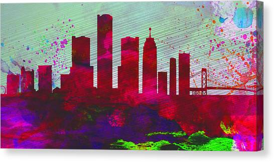 Michigan Canvas Print -  Detroit City Skyline by Naxart Studio