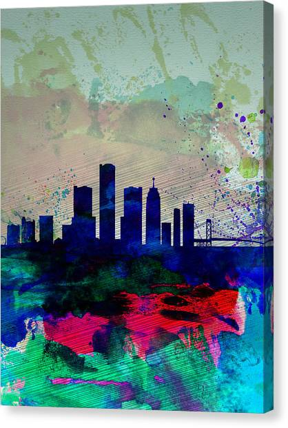 Michigan Canvas Print -  Detroit Watercolor Skyline by Naxart Studio
