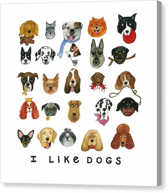 Dogs Twenty Five Breeds Canvas Print by Barbara Esposito