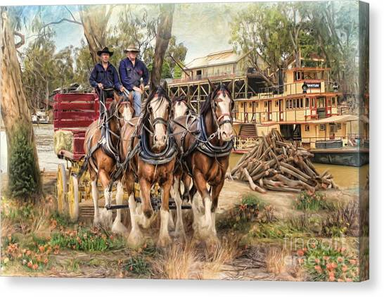 Driving The Murray Canvas Print