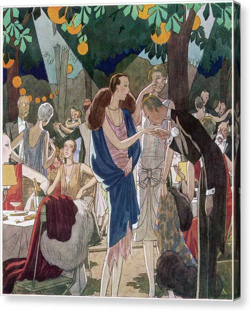 Fashionable People In An Open- Air Canvas Print by Mary Evans Picture Library