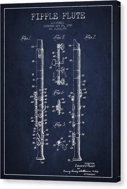 Flutes Canvas Print -  Fipple Flute Patent Drawing From 1959 - Navy Blue by Aged Pixel