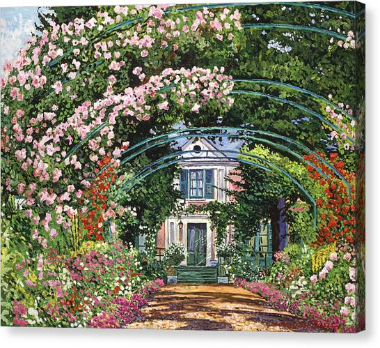 Arbor Canvas Print -  Flowering Arbor Giverny by David Lloyd Glover