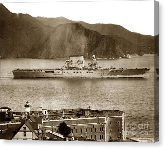 U. S. S. Lexington Cv-2 Fort Point Golden Gate San Francisco Bay California 1928 Canvas Print