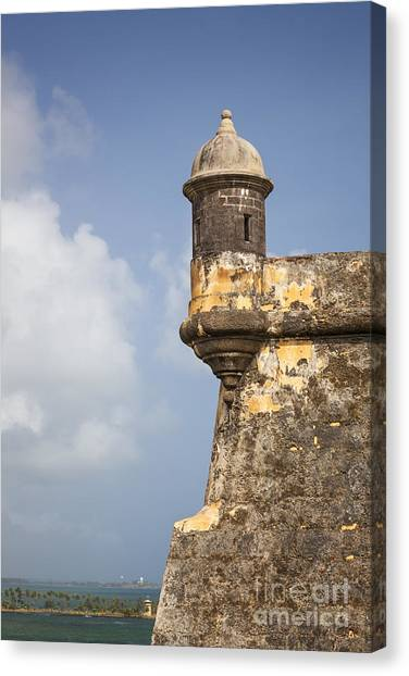 Canvas Print featuring the photograph  Fortified Walls And Sentry Box Of Fort San Felipe Del Morro by Bryan Mullennix
