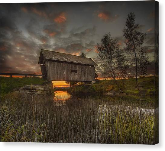Foster Covered Bridge Sunset Canvas Print