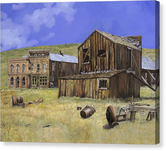 Ruin Canvas Print -  Ghost Town Of Bodie-california by Guido Borelli
