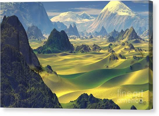 Gobi Desert Canvas Print -  Gobi Desert And Dunes Land  by Heinz G Mielke