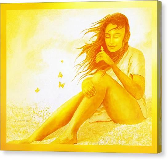 Golden  Butterfly  Girl Canvas Print