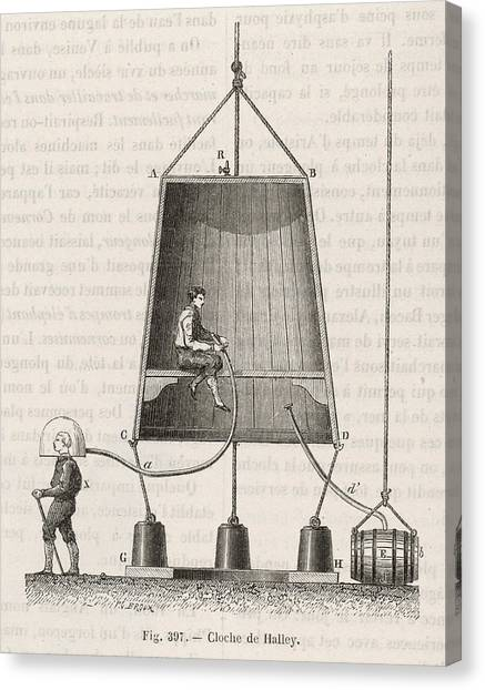 Diving Bell Canvas Print -  Halley's Diving Bell         Date 1690 by Mary Evans Picture Library