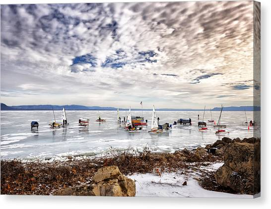 Ice Boats On Lake Pepin Canvas Print