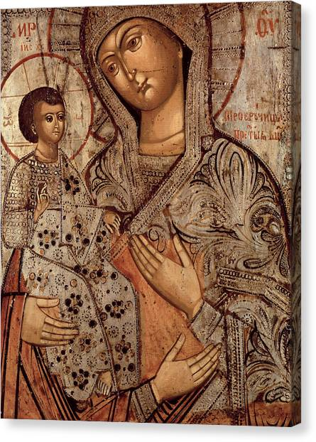 Old Christ Church Canvas Print -  Icon Of The Blessed Virgin With Three Hands by Novgorod School