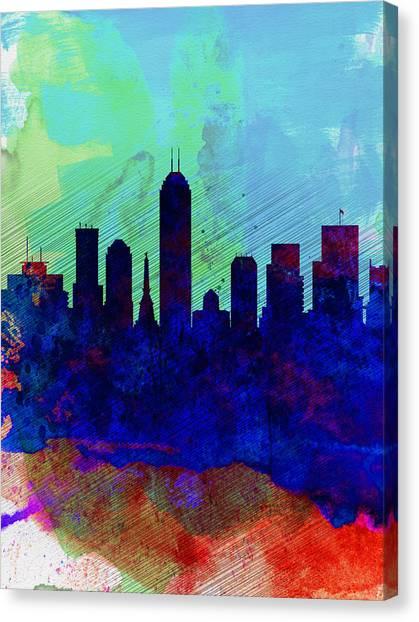 Indianapolis Canvas Print -  IIndianapolis Watercolor Skyline by Naxart Studio