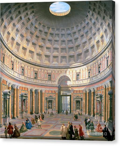 Rome Canvas Print -  Interior Of The Pantheon by Panini