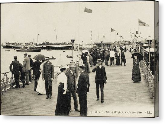 Isle Of Wight  Ryde, On The Pier Canvas Print by Mary Evans Picture Library
