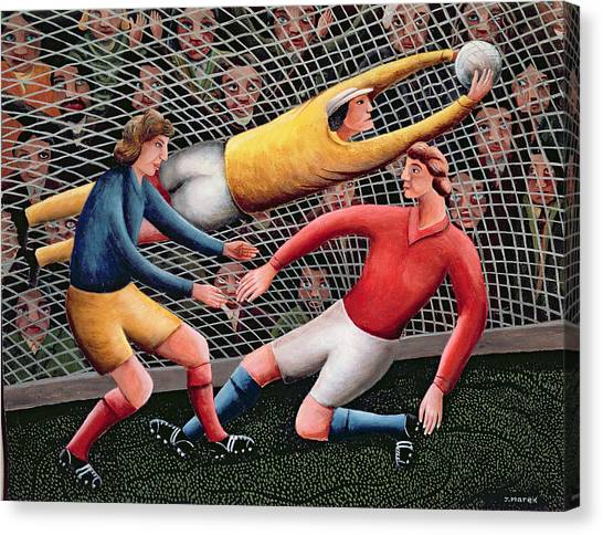 Keeper Canvas Print -  It's A Great Save by Jerzy Marek