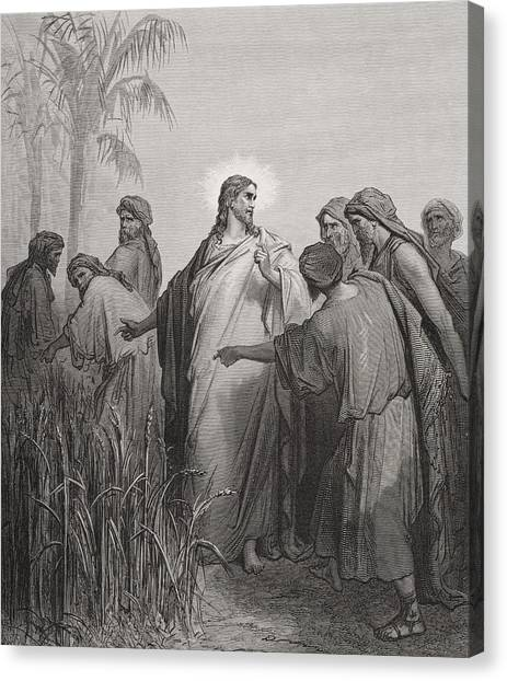 Holy Bible Canvas Print -  Jesus And His Disciples In The Corn Field by Gustave Dore