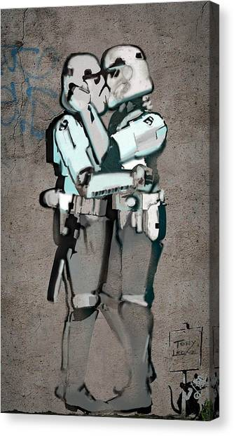 War Canvas Print -  Kissing Clones  by Tony Leone
