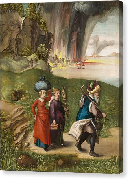 Torah Canvas Print -  Lot And His Daughters by Albrecht Durer