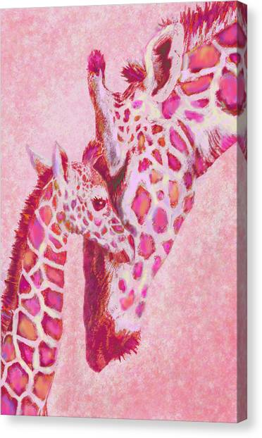 Loving Pink Giraffes Canvas Print