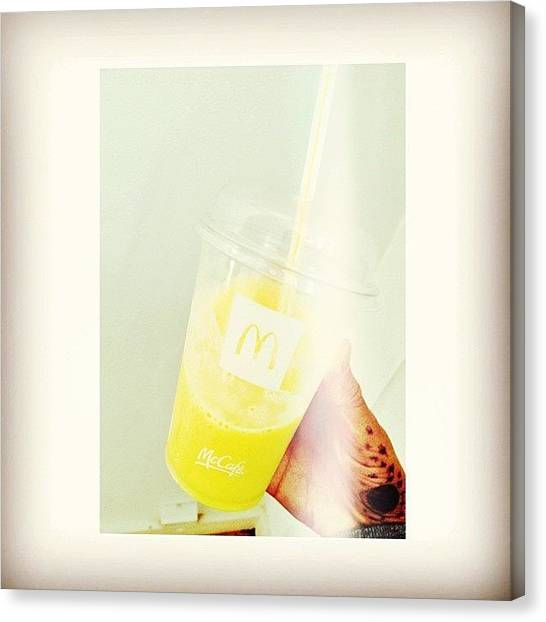Mangos Canvas Print - 🍍&🍈 #mcdonalds #girl #drink by Mae Simms