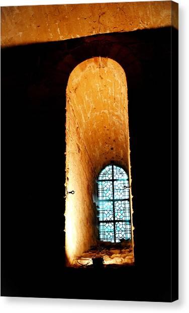 Meditation - Deep Window Mont St Michel Canvas Print by Jacqueline M Lewis