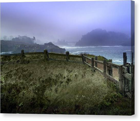 Mendocino Cliff Side Foggy Day   Canvas Print