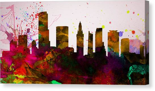 Miami Skyline Canvas Print -  Miami City Skyline by Naxart Studio
